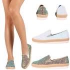 New Womens Iridescent Glitter Slip On Low Flat Heel Loafers Shoe Fashion Sneaker