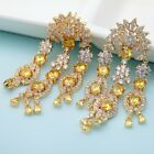 Worchin Jewelry Clear and Yellow CZ Crystal Big Long Tassel Drop Earrings