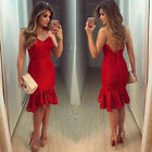 Sexy Women Lace Evening Cocktail Party Dress Bodycon Halter Midi Backless Red