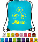 Personalised Drawstring Bag Bag Sack School Gym PE Swim Custom Print Flower