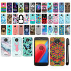 For Motorola Moto C PATTERN HARD Back Case Phone Cover + Pen