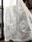 A panel Sheer French village rose Voile white Window lace Curtains rod pocket