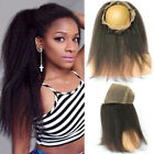360Lace Frontal Closure 100%Brazilian Remy Human Hair Kinky Straight Pre Plucked