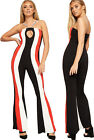 Womens Strappy Striped Print Sleeveless Keyhole Flared Wide Leg Ladies Jumpsuit