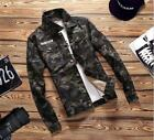 Men Fall Camouflage Denim Retro Jacket Man Long Sleeve Vintage Jackets US XS-2XL