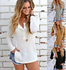 NEW Women's Casual Long Sleeve Knitted V Neck Pullover Loose Sweater Jumper Tops