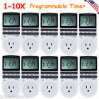 digital switch timer - Plug-in Digital 7 Days Programmable Timer Switch Electric Power Socket 12/24Hour