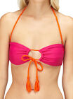 Roxy Juniors Seaswell Adjustable Bandeau Bikini Top-Magenta/Orange-Medium
