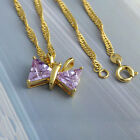 Adorable Bow Tie Pendant Long Neclace Gold folled 3 Colour Crystal