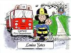 PERSONALIZED CUSTOM CARTOON PRINT - FIREFIGHTER - GREAT GIFT IDEA! FREE S/H