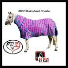 LOVE MY HORSE 600D 5'0 - 6'6  600D Waterproof Rainsheet Combo Rug Pink Check