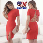 New Sexy Casual Dress Evening Backless Cocktail Party Dress Red Bandage Bodycon
