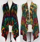 Tie Dye Open Front Sleeveless Cardigan Vest Sweater Stretch Jacket One Size S-M