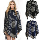 New Womens Warm Aztec Knitted  Reversible Pullover  Winter One Size Shawl