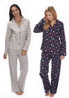 Ladies Winceyette Pyjamas Check Animal Owl Wincy 100% Brushed Cotton Navy Cream