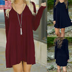 Fashion Womens Autumn Winter Solid Cotton Long Sleeve V-neck Casual Loose Dress