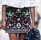 2018 NEW A/W BLACK FLORAL EMBROIDERED MINI SKIRT. BLOGGERS fashion