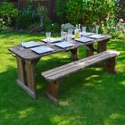 Tinwell Rounded Picnic Table And Bench Set - Wooden Outdoor Garden Heavy Duty