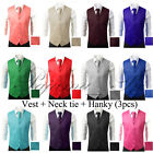 Men's Formal Waistcoat Dress Vest and Neck Tie Hankie Set Wedding Prom Casual