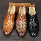 Mens Lace Up British Pointed Toe Weave Formal Dress Leather Shoes Wedding Chic