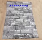 Job Lot 2 Roll Wallpaper White Silver Grey Shimmer Brick Pattern Faux Mural 6753