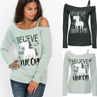 UK Womens Long Sleeve One Shoulder Letter T-Shirt Ladies Casual Tops Blouse 6-18