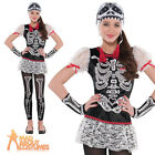 Teen Sassy Skeleton Costume Girls Day of The Dead Halloween Fancy Dress Outfit