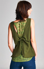 New Women's Tops Dark Green Bow in Back Necklace Sleeveless Polyester Summer