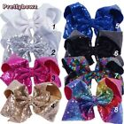 """8"""" Large Sequin Hair Bows Kids Girl Bling Rainbow Sequin Bows Clips Hairgrips"""