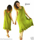 Cotton Dress Frill neckline knee length Long Fairy dress Natural cotton dye