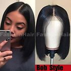 100% Human Hair Wig Bob Style Lace Front Wig Pre Plucked Natural Black Women hht