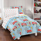 NEW Fire Truck Blue Boys Bedding Set Kids Comforter Sheets