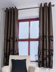 NEW CHOCOLATE BROWN FLORAL PATTERN UNLINED COTTON RING TOP CURTAINS  - RRP £30
