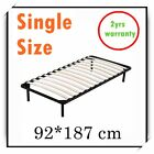 Standard Single Metal Bed Frame Black Bed Base Bedroom Furniture w/ Wooden Slat