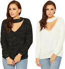 Womens Cable Knit Jumper Ladies Lurex Sparkle Choker Neck Long Sleeve Top 8-14