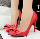 Fashion Women Ladies Office Smart Work Party High Heel Point Stiletto Bow Shoes