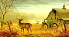 Art wall Home Office Decor Autumn scenery deer Oil painting Printed on canvas