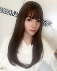 22 inch Synthetic Hair Extensions Clip in Hair Topper Mono Hairpiece with Bangs