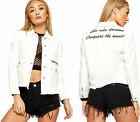 Womens Distressed Denim Jacket Ladies Embroidered Slogan Long Sleeve New 8-16