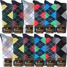 12 Pairs New Cotton Men Argyle Diamond Style Dress Socks Size 10-13 Multi Color