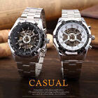 New Transparent Skeleton Analog Automatic Mechanical Stainless Steel Wrist Watch