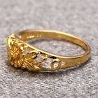 New 18K Plated Romantic Cute Gold Color Flower Ring for Women Girl Jewelry Gift