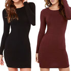 Womens Long Sleeve Solid Bodycon Silm Cocktail Party Short M
