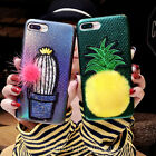 Cute Plush Ball Pineapple Cactus Case Leather Skin Cover for iPhone 8 6S 7 Plus