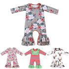 Newborn Baby Girls Ruffle Romper Jumpsuit Pajama Long Sleeve Xmas Clothes Outfit