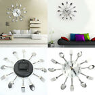 Stainless Steel Knife Fork Spoons Wall Clock Analog Home Office Decor Clever