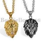 Fashion Mens Stainless Steel Gold Silver Lion King CZ Pendant Necklace Chain 22""