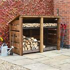 Hambleton 4ft Outdoor Wooden Log Store - Reversed Roof - UK HAND MADE