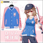 Nicely Overwatch Sweater Button Jacket DVA OW Game Cosplay Baseball Costume Coat