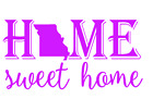 Missouri State Home Sweet Home Vinyl Decal Sticker RV Window Wall Home Choice